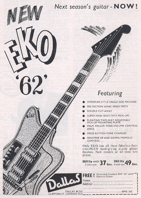 gary deacon solo guitarist vintage 1962 advertisement for the eko 39 62 guitar. Black Bedroom Furniture Sets. Home Design Ideas