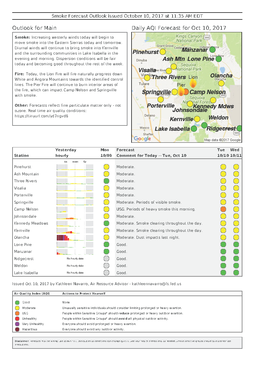 tuesday october 10 2017 lion fire smoke outlook