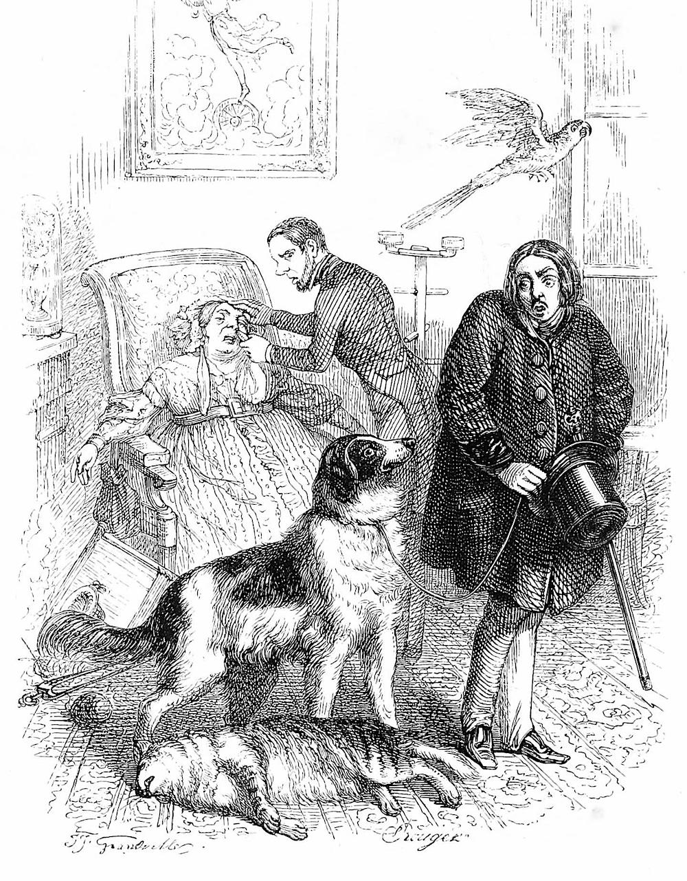 a J.J. Grandville cartoon, a guest's dog kills a host's cat