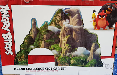 Back of Angry Birds slot car racing Eagle Mountain press out.