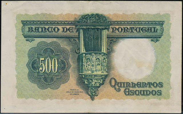 Portugal money currency 500 Escudos banknote 1942 Renaissance Pulpit in the Church of the Monastery of the Holy Cross