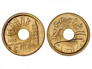Moneda de 25 pesetas sin la conjunción 'y'