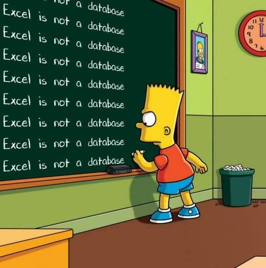 excel is not a database