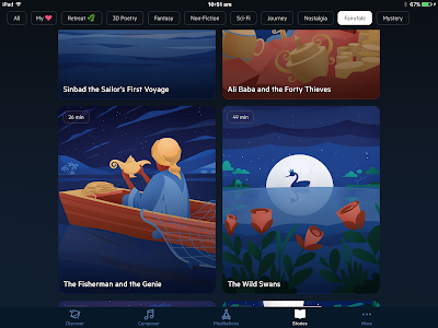 Screen shot of some of the stories page on the app