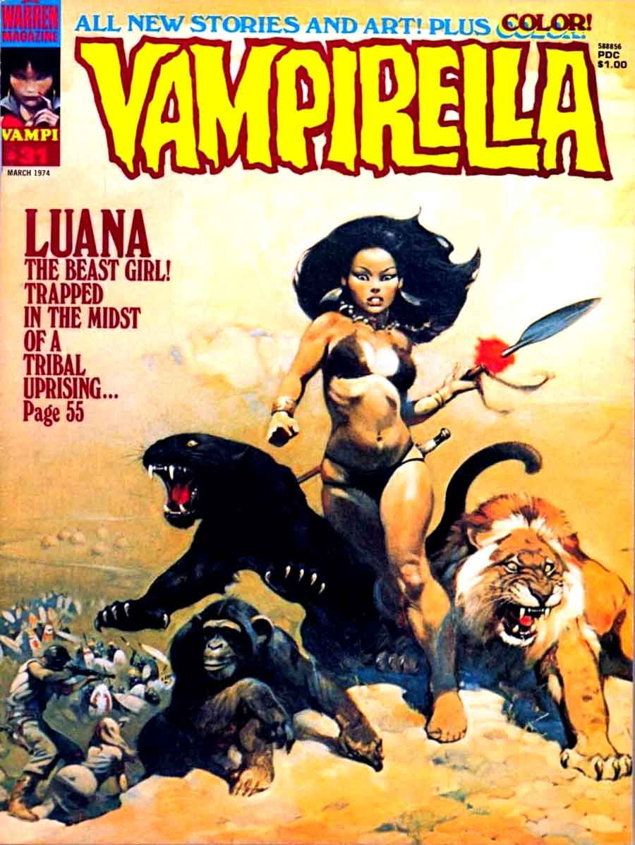 Vampirella v1 #31 warren magazine cover art by Frank Frazetta