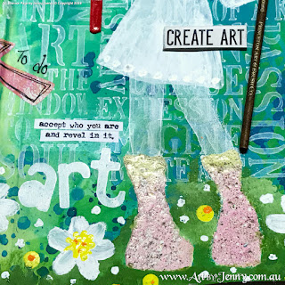 art journal page with embossing powders and acrylic paint with collage by Jenny James