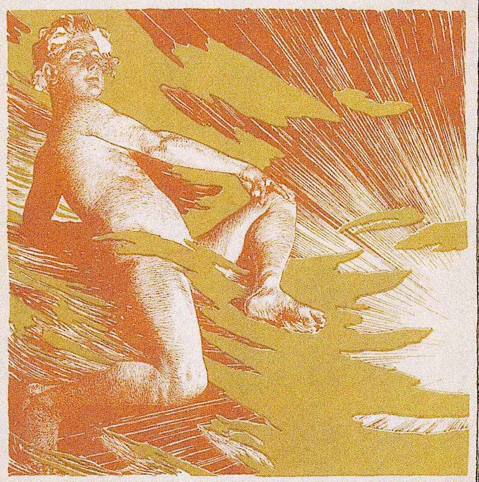 a Koloman Moser illustration of a male figure sitting in the clouds with radiating sun rays