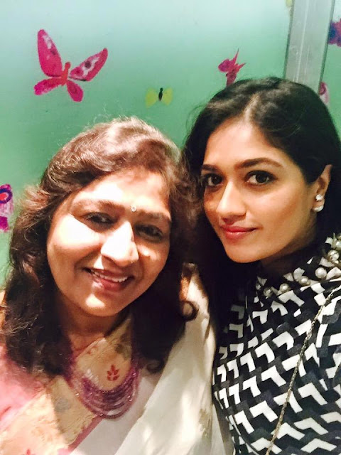 Meghana Raj with mother