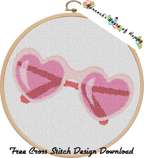 Sweet Lolita Bubblegum Pink Heart Shaped Sunglasses Cross Stitch Pattern