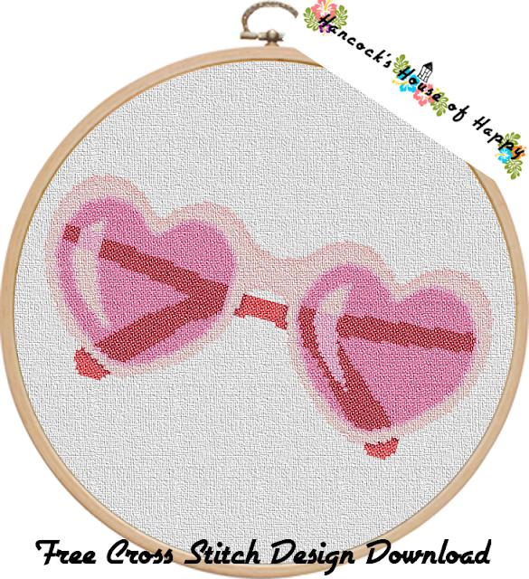 Free Heart Sunglasses Cross Stitch Pattern. Lolita Sunglasses Cross Stitch Pattern.