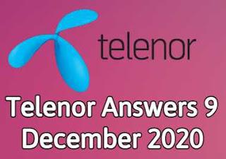 9 December Telenor Quiz | Telenor Answers 9 December 2020