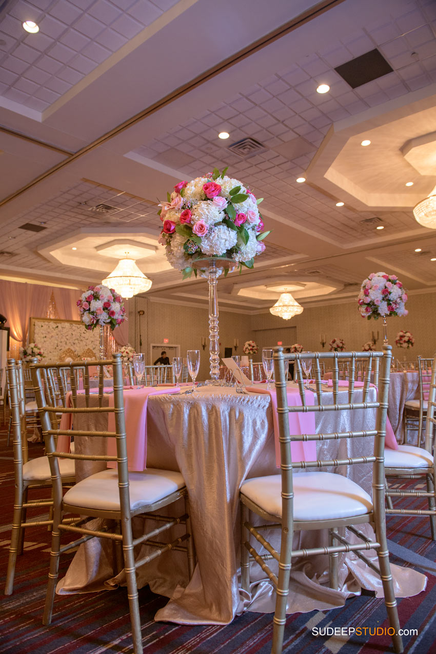 Indian Wedding Photography Hall Decoration Pink Theme at Eagle Crest Marriott SudeepStudio.com Ann Arbor South Asian Indian Wedding Photographer