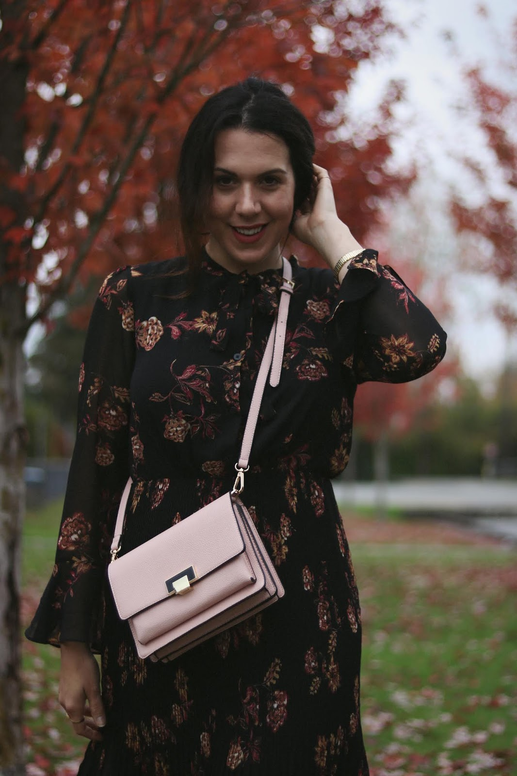 Le Chateau floral maxi dress outfit pink handbag Vancouver fashion blogger aleesha harris