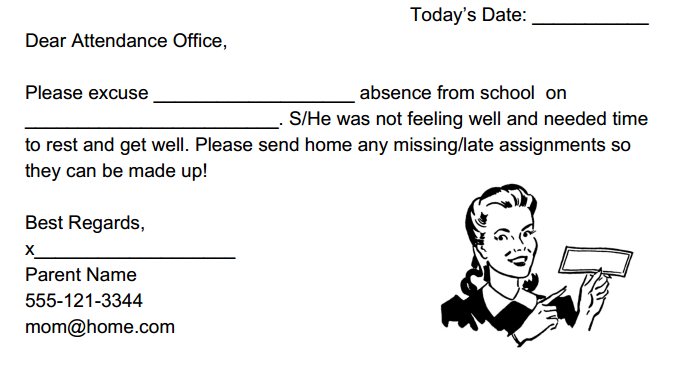 Inthesauce school absent note template for Absent notes for school templates