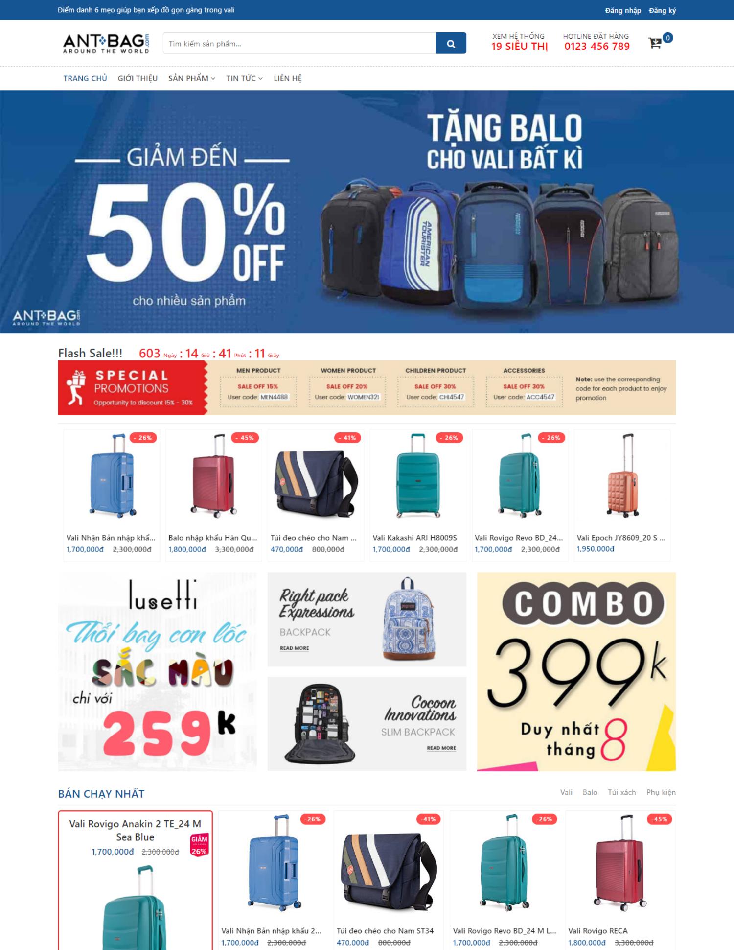 Theme blogspot bán hàng balo đẹp, chuẩn SEO (VSM19)