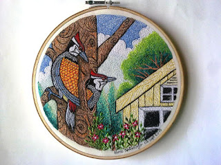 woodpecker embroidery art