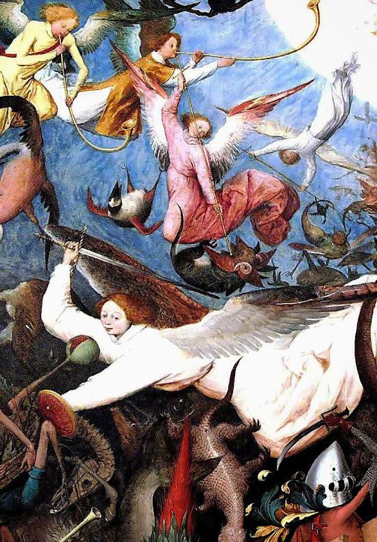 Queda dos anjos rebeldes. Pieter Bruegel (1525 – 1569), Museums of Fine Arts of Belgium, Bruxelas, detalhe