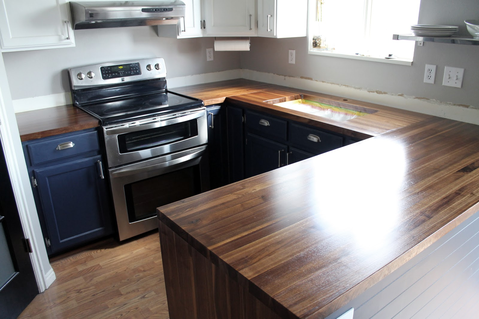 Lowes Walnut Kitchen Cabinets Our Walnut Countertops Sanded Sealed And Finished