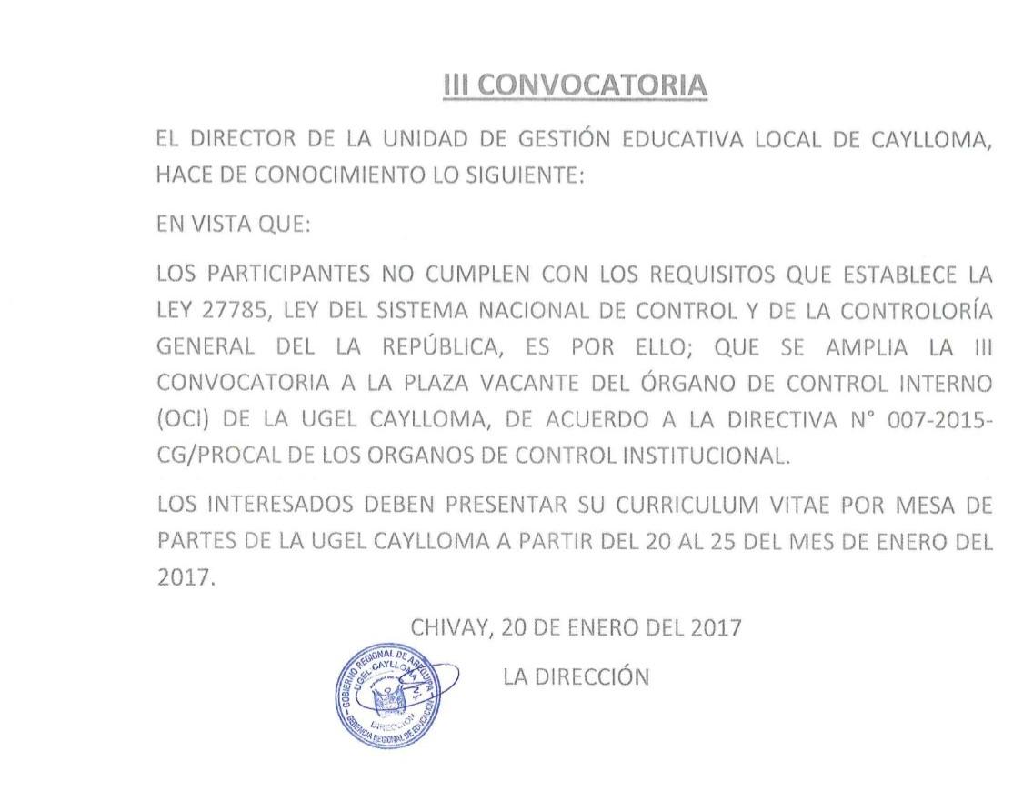 Tercera convocatoria para plaza vacante de rgano de for Convocatoria de plazas docentes 2017