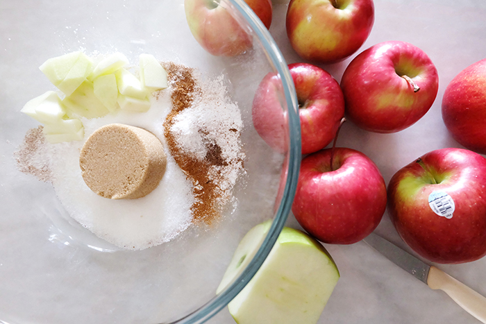 prepping apples and filling ingredients