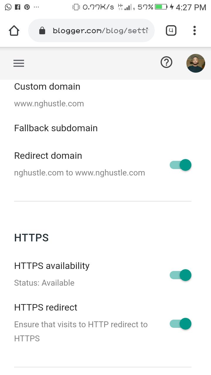 How To Make Blogger Custom Domain Open On Glo Network