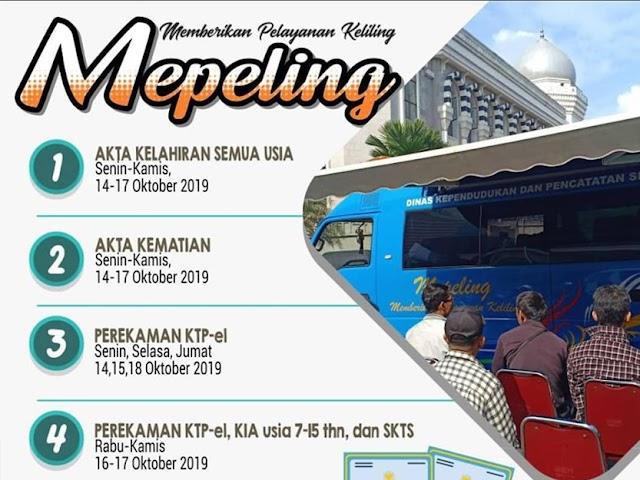Jadwal dan Lokasi Mepeling Disdukcapil Kota Bandung 14 - 18 Oktober 2019