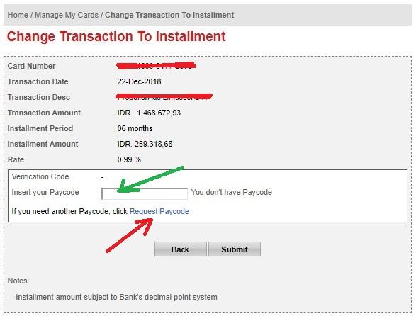 Merubah Transaksi Kartu Kredit Master Card Menjadi cicilan