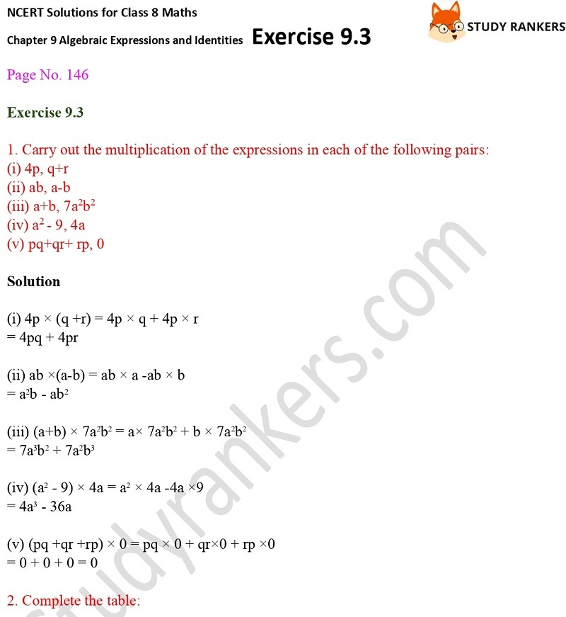 NCERT Solutions for Class 8 Maths Ch 9 Algebraic Expressions and Identities Exercise 9.3 1