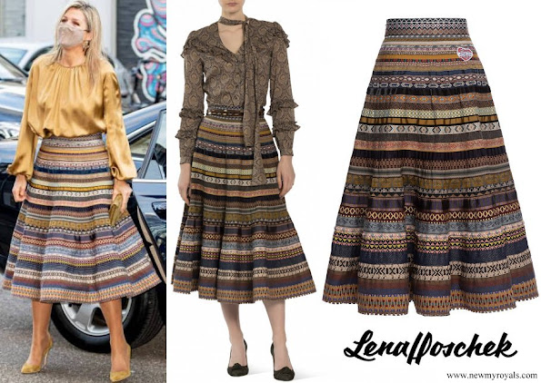 Queen Maxima wore Lena Hoschek Opulence Ribbon Skirt