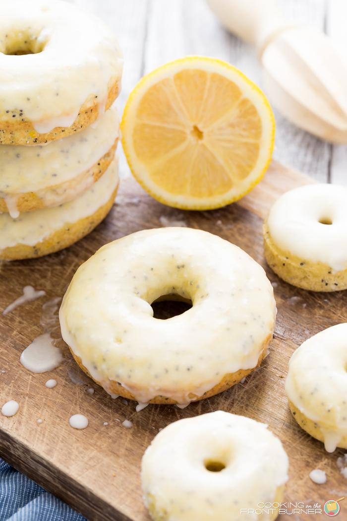 Glazed Lemon Poppy Seed Baked Donuts