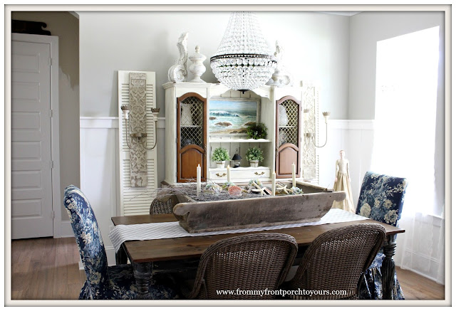 French Country Farmhouse Dining Room-Floral Slip Covers-Parson Chairs- From My Front Porch To Yours