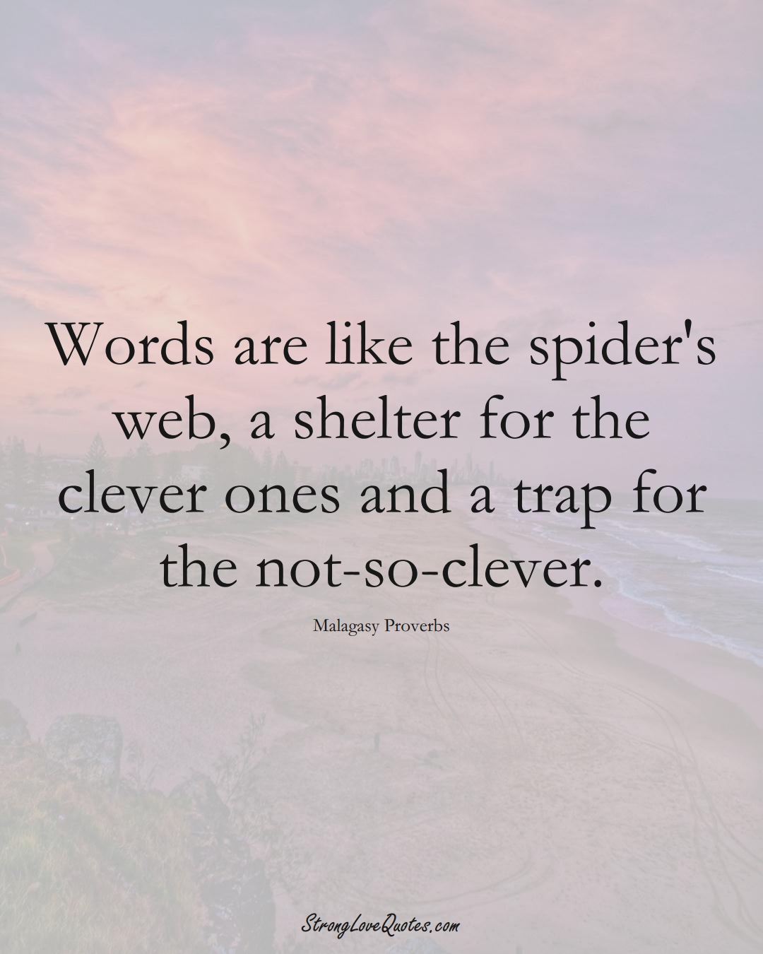 Words are like the spider's web, a shelter for the clever ones and a trap for the not-so-clever. (Malagasy Sayings);  #AfricanSayings