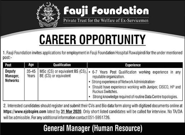 Career Opportunity Fauji Foundation Hospital Rawalpindi