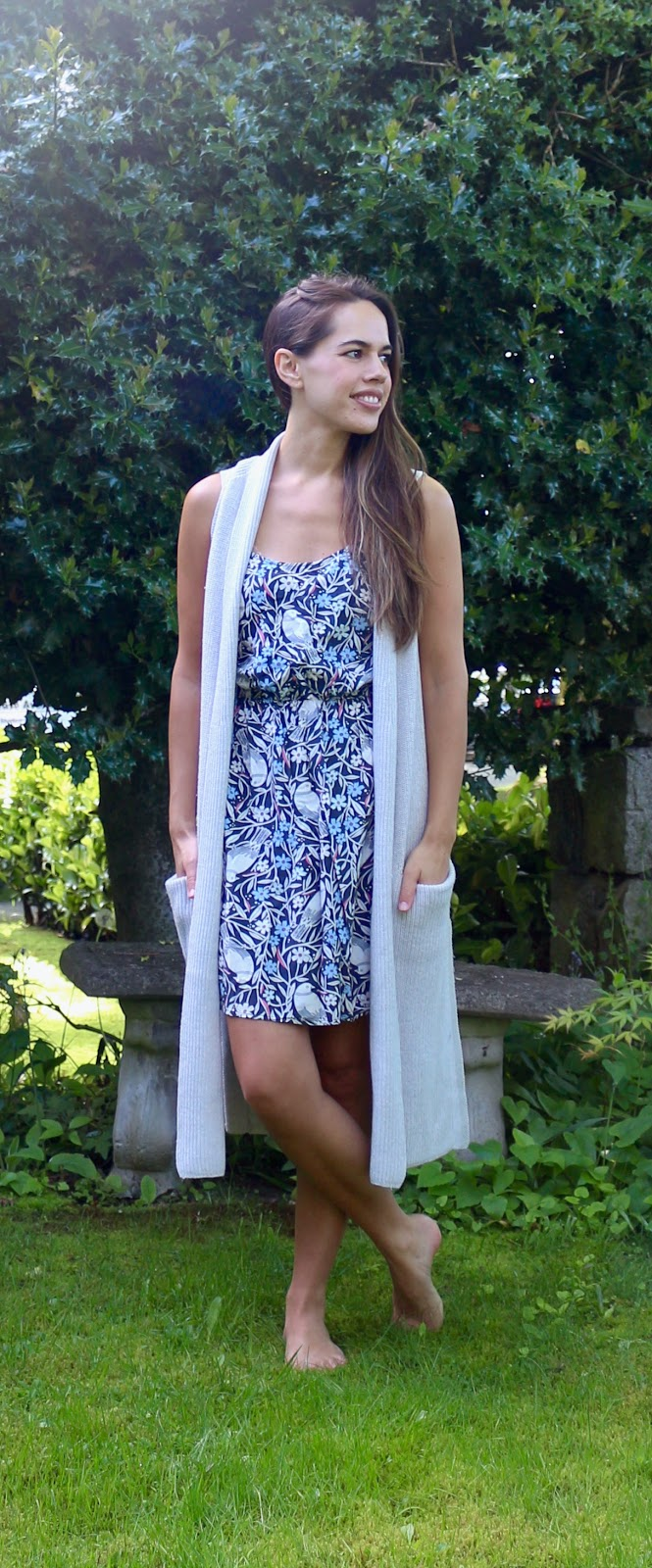 Jules in Flats - Summer Dress with Knit Sweater Vest (Easy Work from Home Outfit)