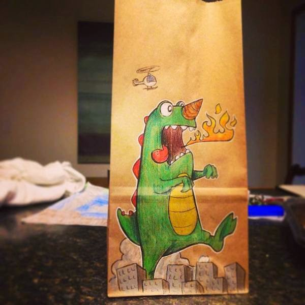 creative drawings on lunch bag