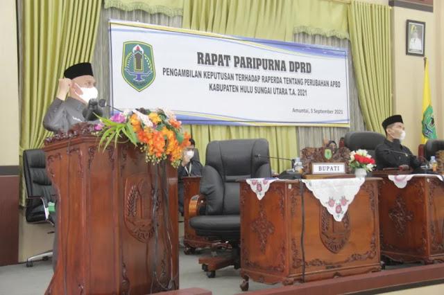 Abdul Wahid Syukuri DPRD Hulu Sungai Utara Sepakati Raperda APBD Perubahan 2021.lelemuku.com.jpg
