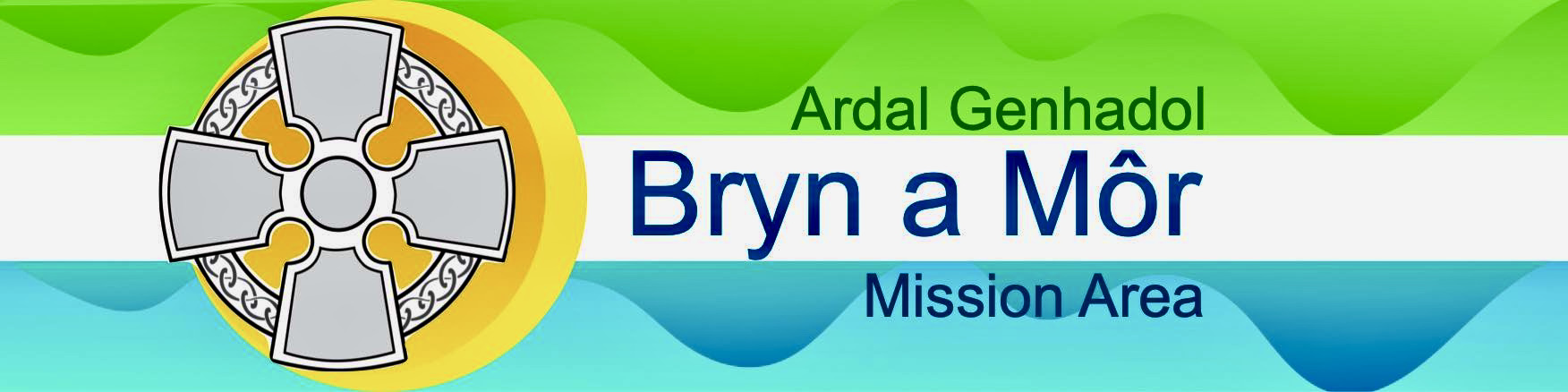 A 4 colour background image  showing the Bryn a Mor Mission Area Logo.