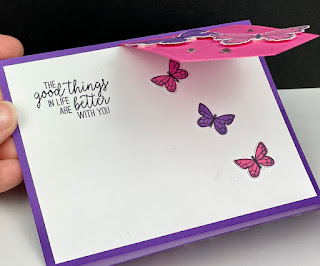 Stampin' Up! Butterfly Gala + Artistry Blooms DSP Flap Fold Card + VIDEO ~ Stitched Nested Labels Dies ~ www.juliedavison.com #stampinup