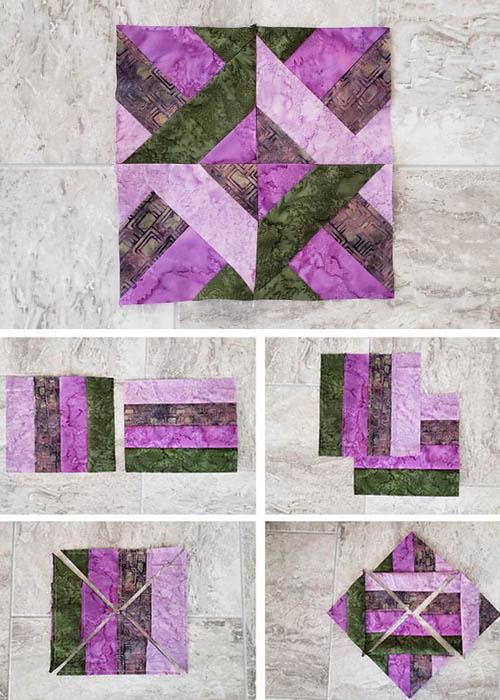 Hidden Wells Quilt Block made with 4 strips