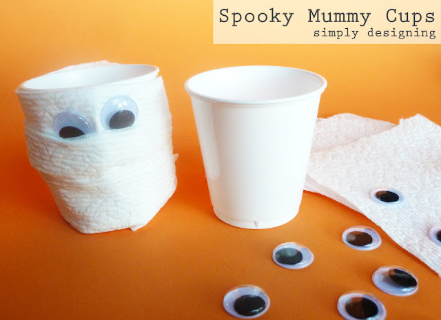 Spooky Mummy Cups | simple Halloween kid crafts | #kidcrafts #halloween #cottonelletarget #pmedia #ad