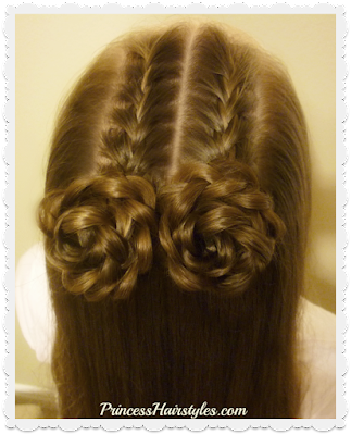 Double french braided space buns hairstyle.