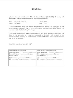 Bill of Sales Sample