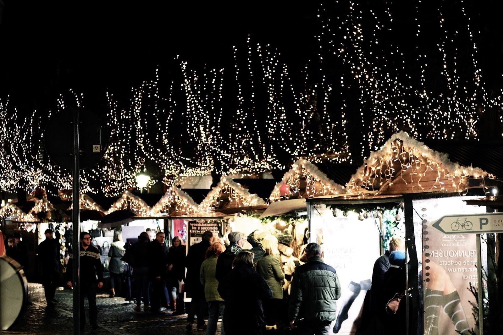 Christmas market stalls in Bruges