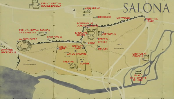 Mapa de Salona, Croacia