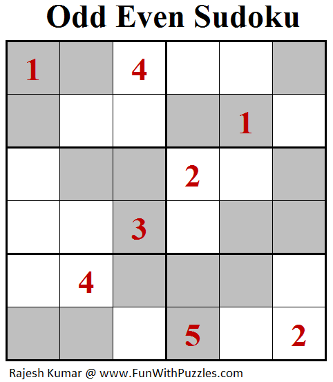 Odd Even Sudoku (Mini Sudoku Series #100)