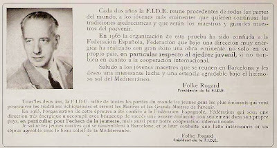 Nota de Folke Rogard a los organizadores del VIII Campeonato Mundial Juvenil de Ajedrez 1965