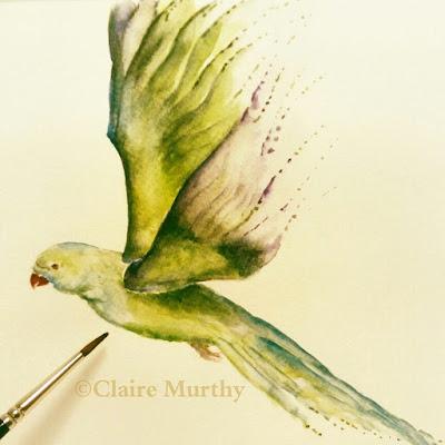 Watercolour bird painting. Green parakeet in the garden.