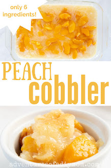 collage of images of peach cobbler
