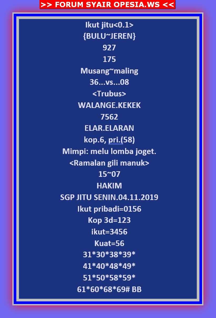 Kode syair Singapore Senin 4 November 2019 21