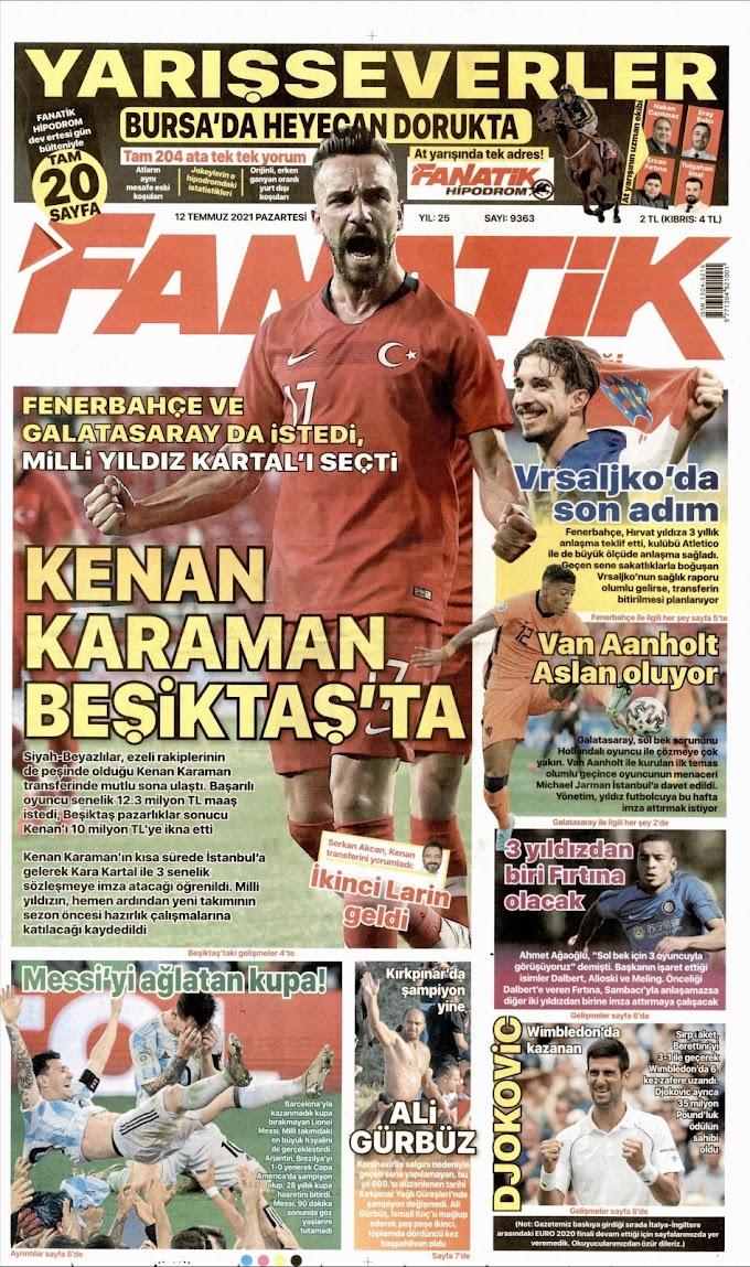 12 Temmuz Pazartesi Spor Basınında Günün Öne Çıkan Gazete Sayfaları